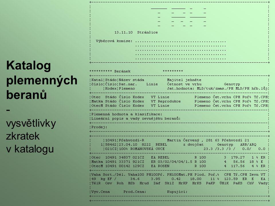 Katalog plemenných beranů - vysvětlivky zkratek v katalogu