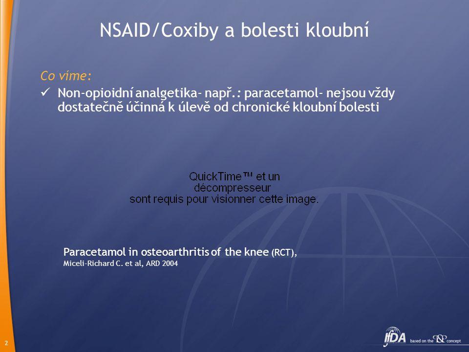 2 NSAID/Coxiby a bolesti kloubní Co víme:  Non-opioidní analgetika- např.: paracetamol- nejsou vždy dostatečně účinná k úlevě od chronické kloubní bo