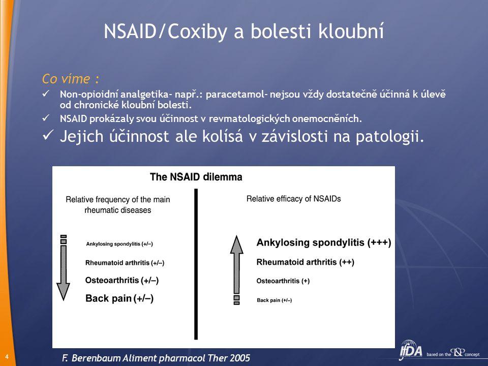 4 NSAID/Coxiby a bolesti kloubní Co víme :  Non-opioidní analgetika- např.: paracetamol- nejsou vždy dostatečně účinná k úlevě od chronické kloubní b