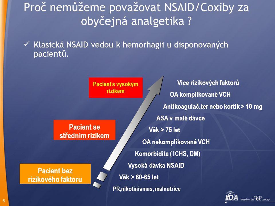 5 Proč nemůžeme považovat NSAID/Coxiby za obyčejná analgetika ?  Klasická NSAID vedou k hemorhagii u disponovaných pacientů. Antikoagulač.ter nebo ko
