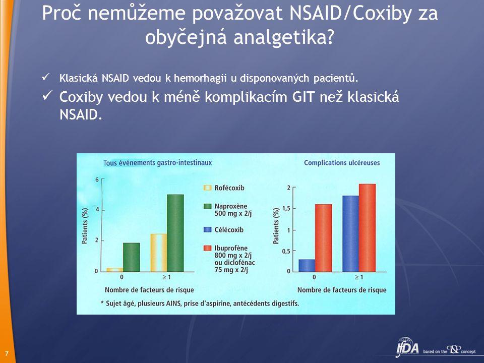 7 Proč nemůžeme považovat NSAID/Coxiby za obyčejná analgetika?  Klasická NSAID vedou k hemorhagii u disponovaných pacientů.  Coxiby vedou k méně kom