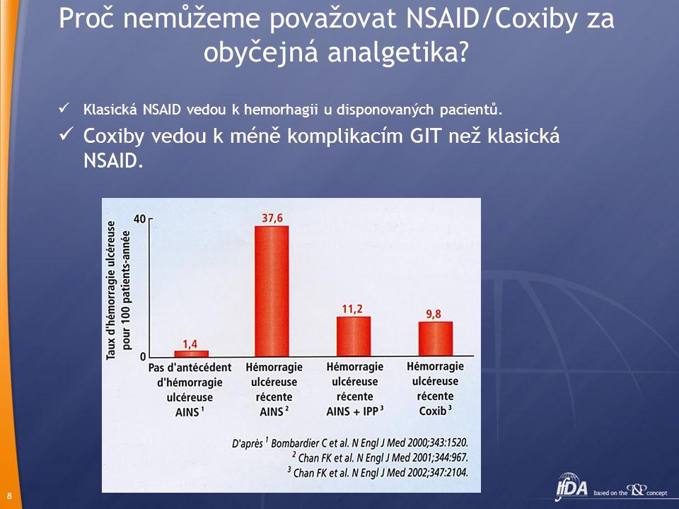 8 Proč nemůžeme považovat NSAID/Coxiby za obyčejná analgetika?  Klasická NSAID vedou k hemorhagii u disponovaných pacientů.  Coxiby vedou k méně kom