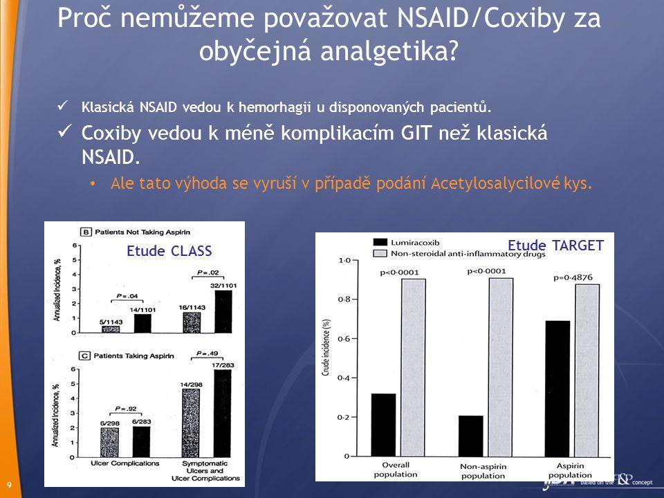 9 Proč nemůžeme považovat NSAID/Coxiby za obyčejná analgetika?  Klasická NSAID vedou k hemorhagii u disponovaných pacientů.  Coxiby vedou k méně kom