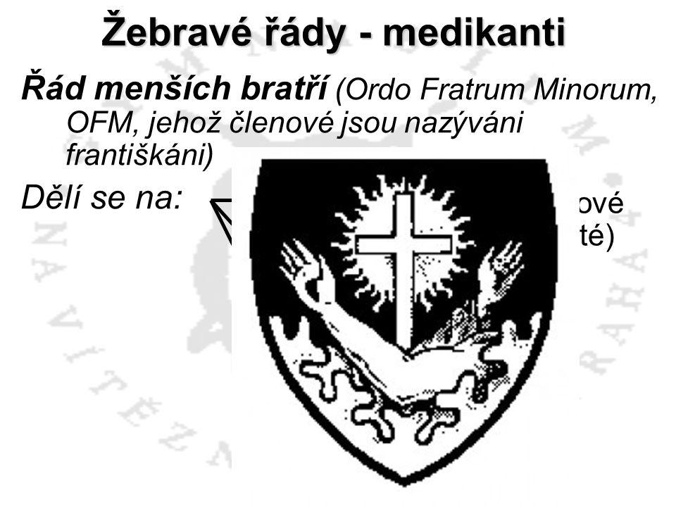 OFMCap kapucíni Řád menších bratří (Ordo Fratrum Minorum, OFM, jehož členové jsou nazýváni františkáni) Dělí se na: OFMConv konventuálové (minorité) O