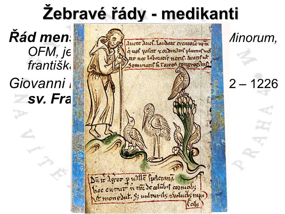 Žebravé řády - medikanti Řád menších bratří (Ordo Fratrum Minorum, OFM, jehož členové jsou nazýváni františkáni) Giovanni Battista Bernardone – 1182 –