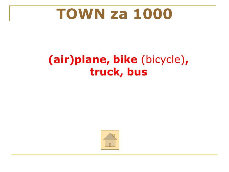 """TOWN za 1000 ODPOVĚĎ Řekni anglicky: """"letadlo, kolo, nákladní auto, autobus"""