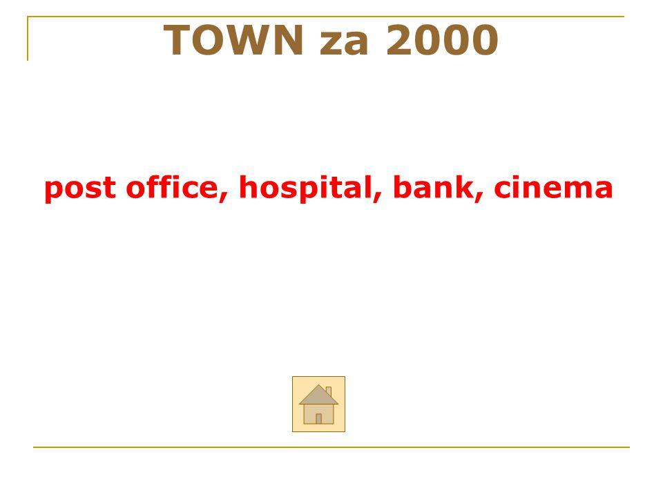 """TOWN za 2000 ODPOVĚĎ Řekni anglicky: """"pošta, nemocnice, banka, kino"""
