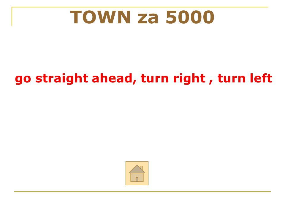 """TOWN za 5000 ODPOVĚĎ Řekni anglicky: """"jdi rovně, zahni doprava, zahni doleva"""