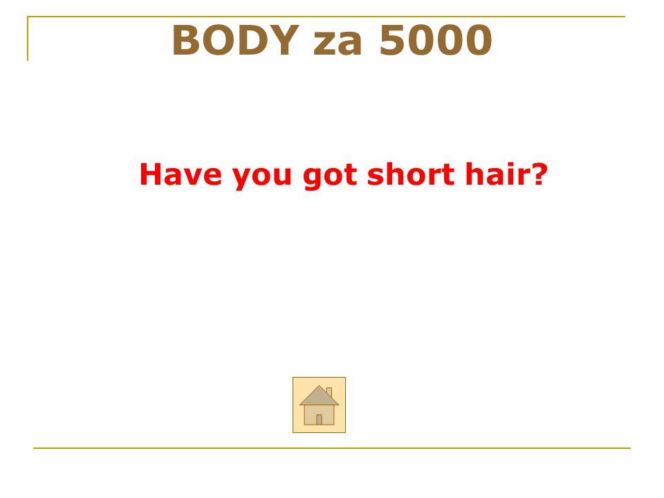 """BODY za 5000 ODPOVĚĎ Řekni anglicky: """"Máš krátké vlasy?"""""""