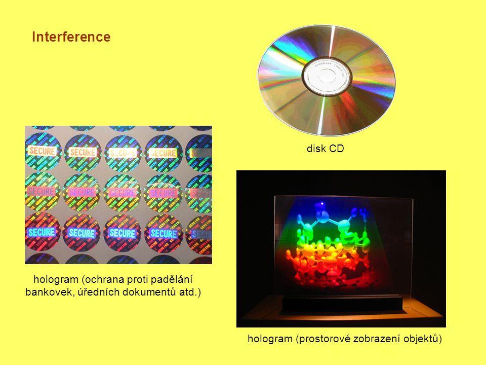 Interference disk CD hologram (ochrana proti padělání bankovek, úředních dokumentů atd.) hologram (prostorové zobrazení objektů)
