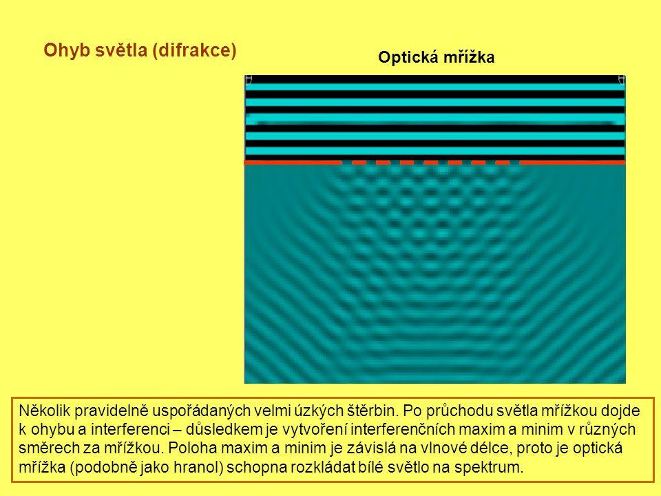 Ohyb světla (difrakce) Optická mřížka Několik pravidelně uspořádaných velmi úzkých štěrbin.