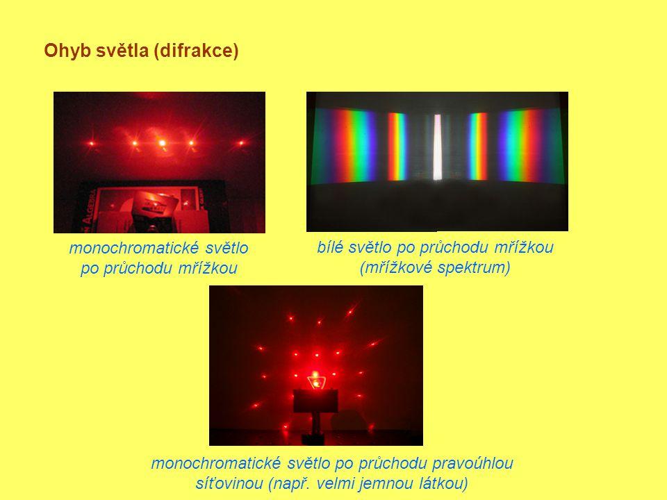 Ohyb světla (difrakce) monochromatické světlo po průchodu mřížkou bílé světlo po průchodu mřížkou (mřížkové spektrum) monochromatické světlo po průchodu pravoúhlou síťovinou (např.
