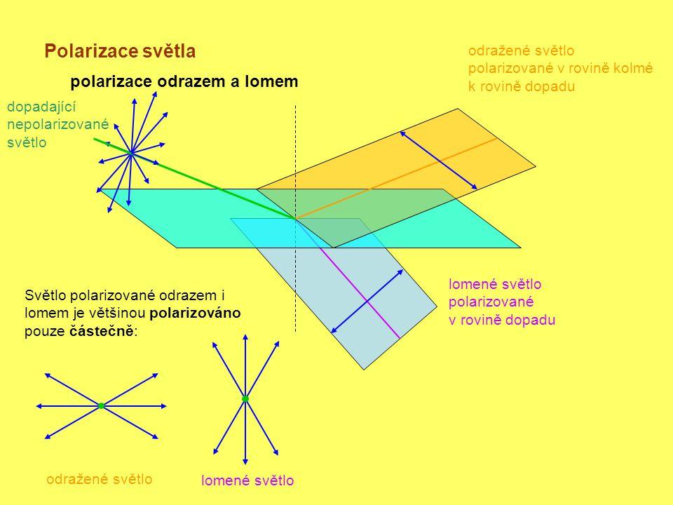 Polarizace světla polarizace odrazem a lomem dopadající nepolarizované světlo odražené světlo polarizované v rovině kolmé k rovině dopadu lomené světlo polarizované v rovině dopadu Světlo polarizované odrazem i lomem je většinou polarizováno pouze částečně: odražené světlo lomené světlo