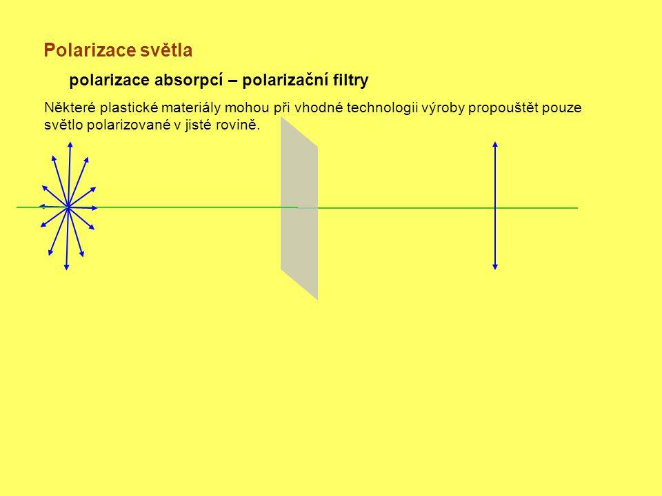 Polarizace světla polarizace absorpcí – polarizační filtry Některé plastické materiály mohou při vhodné technologii výroby propouštět pouze světlo polarizované v jisté rovině.