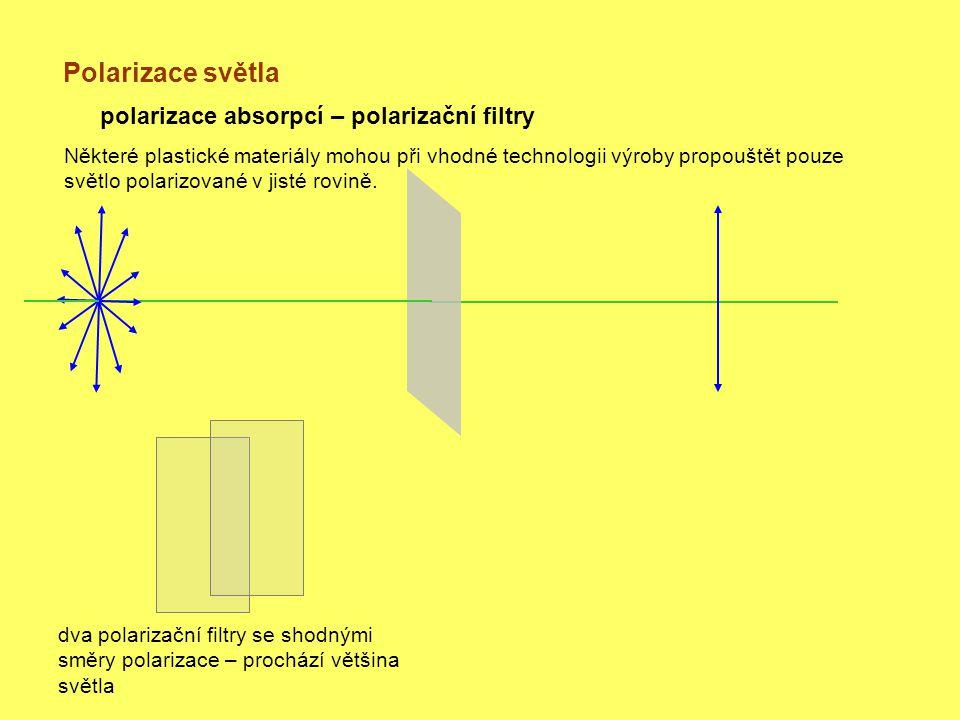 Polarizace světla polarizace absorpcí – polarizační filtry dva polarizační filtry se shodnými směry polarizace – prochází většina světla Některé plastické materiály mohou při vhodné technologii výroby propouštět pouze světlo polarizované v jisté rovině.