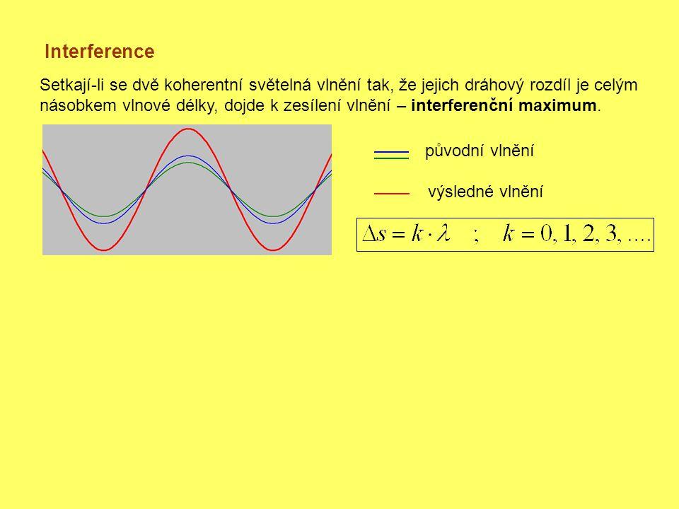 Interference Setkají-li se dvě koherentní světelná vlnění tak, že jejich dráhový rozdíl je celým násobkem vlnové délky, dojde k zesílení vlnění – interferenční maximum.