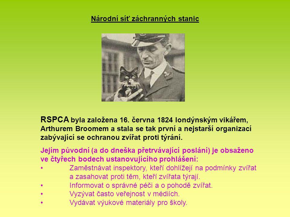Národní síť záchranných stanic Působnost RSPCA •území Anglie a Walesu •domácí i divoká zvířata včetně mořských •legislativa, kampaně, vzdělávání