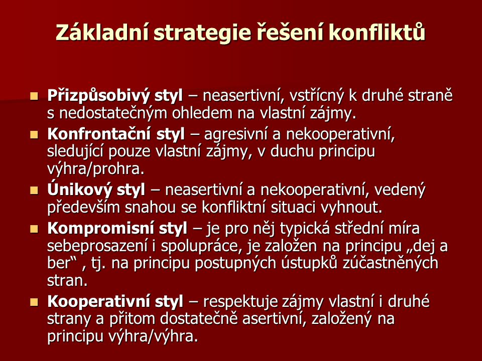 Základní strategie řešení konfliktů  Přizpůsobivý styl – neasertivní, vstřícný k druhé straně s nedostatečným ohledem na vlastní zájmy.  Konfrontačn