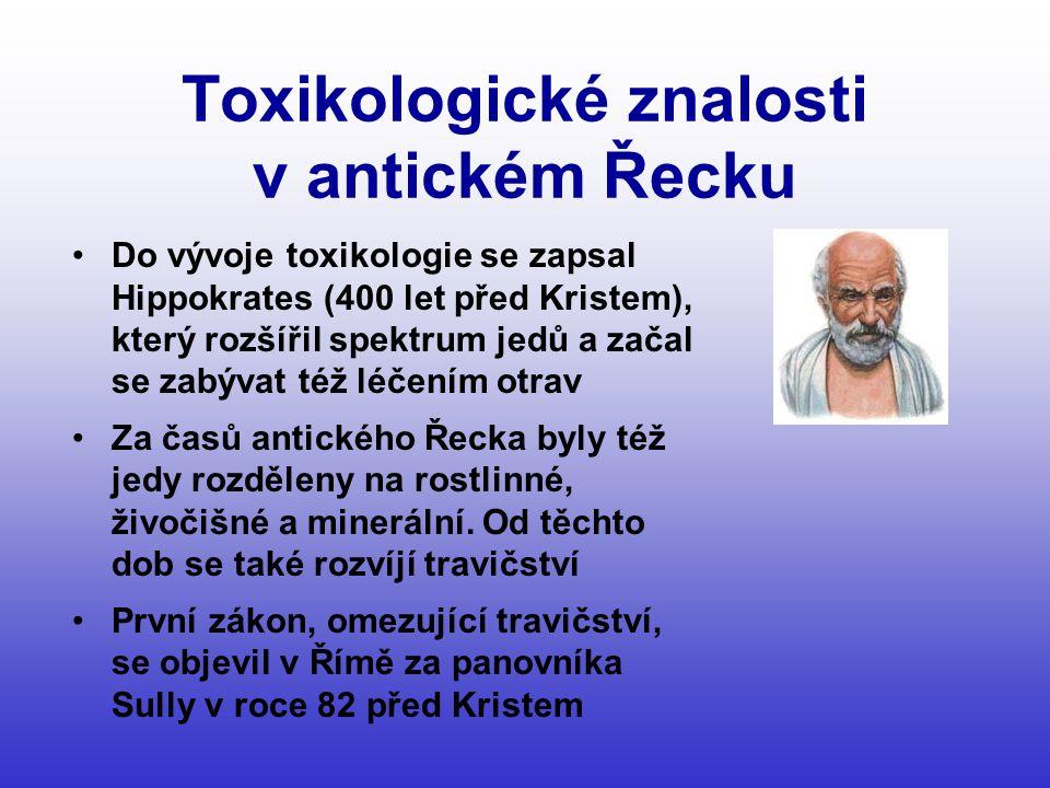 Toxikologické znalosti v antickém Řecku •Do vývoje toxikologie se zapsal Hippokrates (400 let před Kristem), který rozšířil spektrum jedů a začal se zabývat též léčením otrav •Za časů antického Řecka byly též jedy rozděleny na rostlinné, živočišné a minerální.