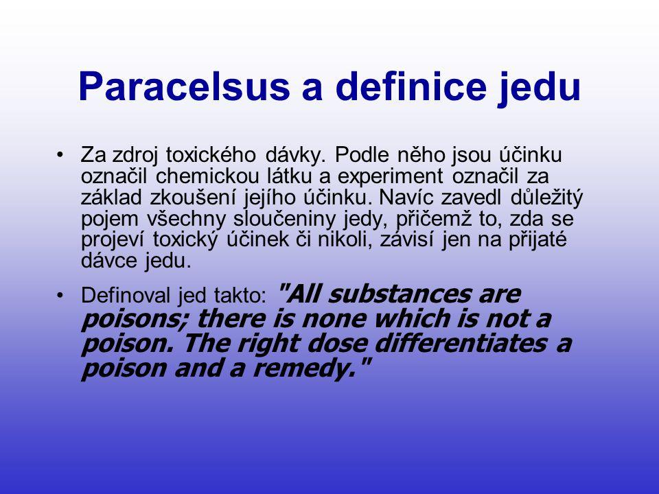 Paracelsus a definice jedu •Za zdroj toxického dávky.