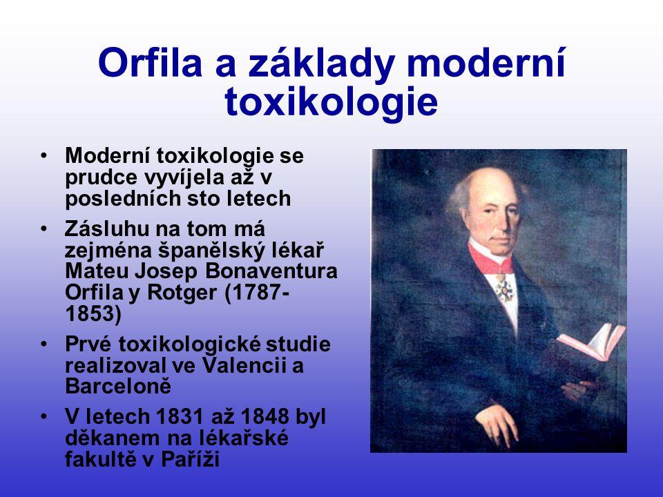 Orfila a základy moderní toxikologie •Moderní toxikologie se prudce vyvíjela až v posledních sto letech •Zásluhu na tom má zejména španělský lékař Mateu Josep Bonaventura Orfila y Rotger (1787- 1853) •Prvé toxikologické studie realizoval ve Valencii a Barceloně •V letech 1831 až 1848 byl děkanem na lékařské fakultě v Paříži