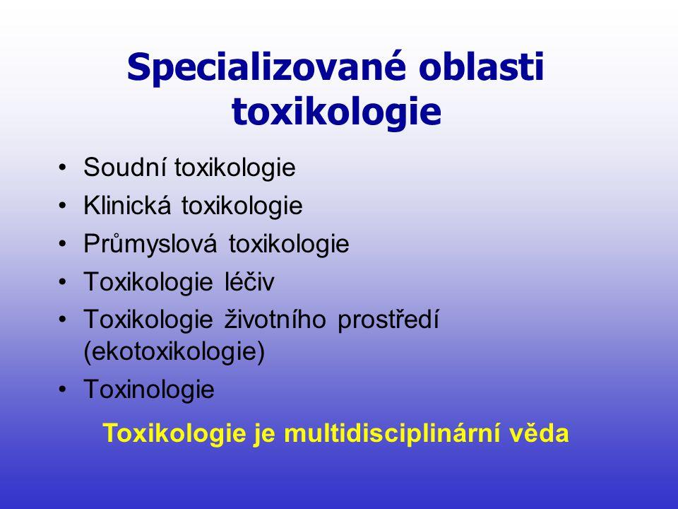 Specializované oblasti toxikologie •Soudní toxikologie •Klinická toxikologie •Průmyslová toxikologie •Toxikologie léčiv •Toxikologie životního prostředí (ekotoxikologie) •Toxinologie Toxikologie je multidisciplinární věda