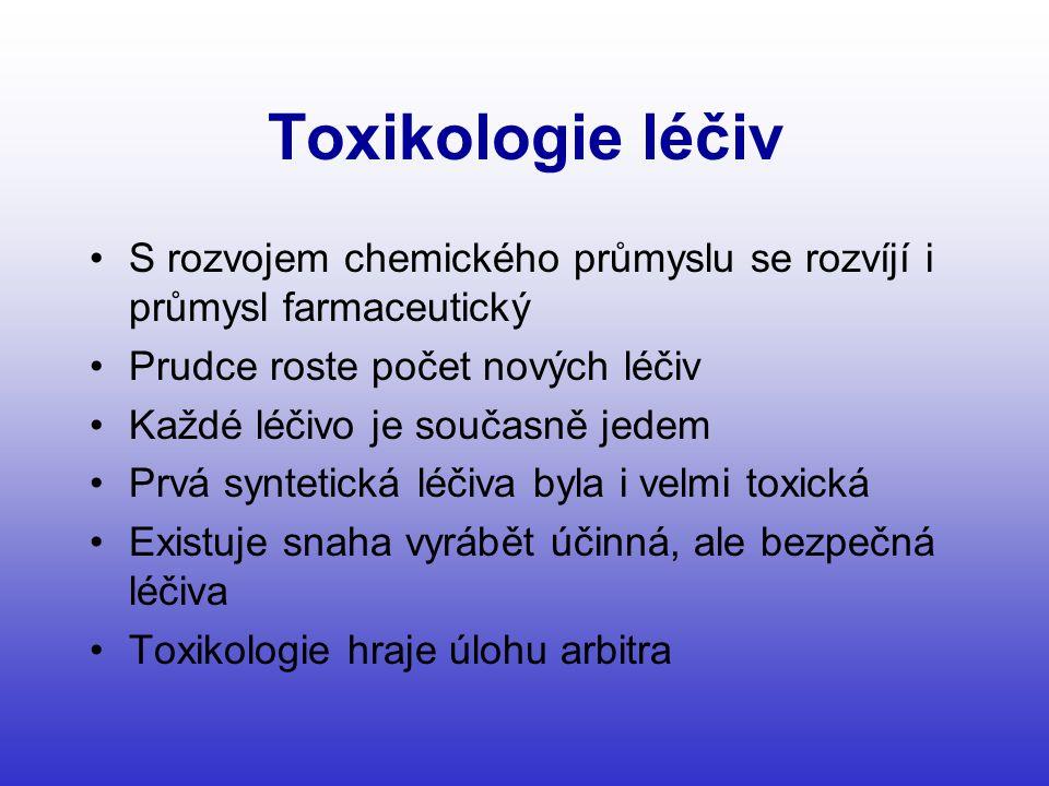 Toxikologie léčiv •S rozvojem chemického průmyslu se rozvíjí i průmysl farmaceutický •Prudce roste počet nových léčiv •Každé léčivo je současně jedem •Prvá syntetická léčiva byla i velmi toxická •Existuje snaha vyrábět účinná, ale bezpečná léčiva •Toxikologie hraje úlohu arbitra
