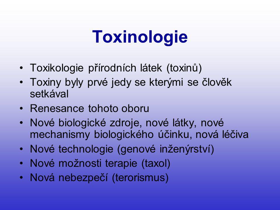 Toxinologie •Toxikologie přírodních látek (toxinů) •Toxiny byly prvé jedy se kterými se člověk setkával •Renesance tohoto oboru •Nové biologické zdroje, nové látky, nové mechanismy biologického účinku, nová léčiva •Nové technologie (genové inženýrství) •Nové možnosti terapie (taxol) •Nová nebezpečí (terorismus)