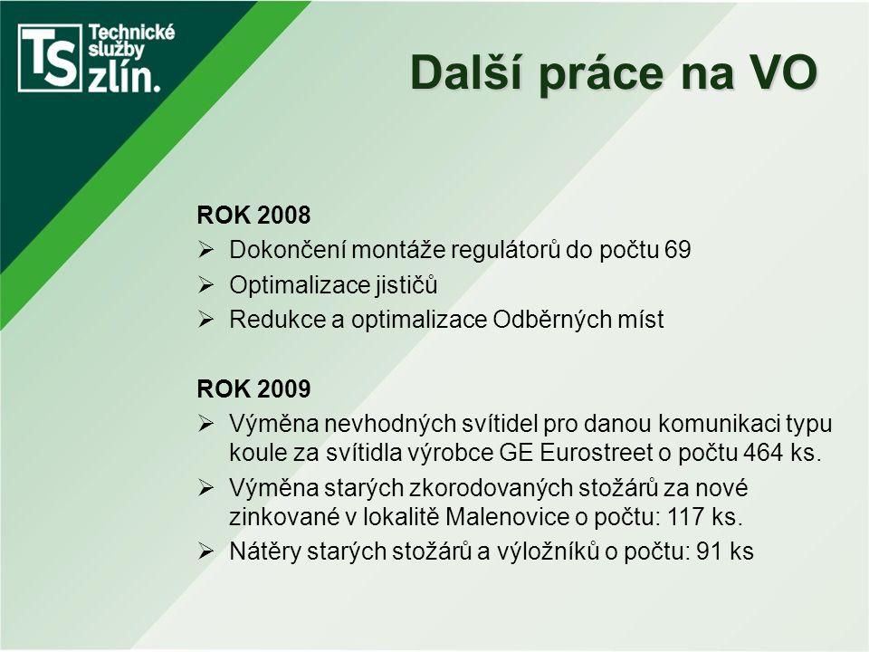 Další práce na VO ROK 2008  Dokončení montáže regulátorů do počtu 69  Optimalizace jističů  Redukce a optimalizace Odběrných míst ROK 2009  Výměna