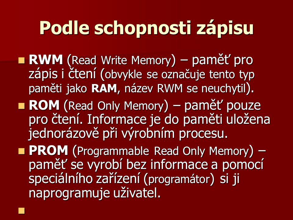 Podle schopnosti zápisu  RWM ( Read Write Memory ) – paměť pro zápis i čtení ( obvykle se označuje tento typ paměti jako RAM, název RWM se neuchytil ).