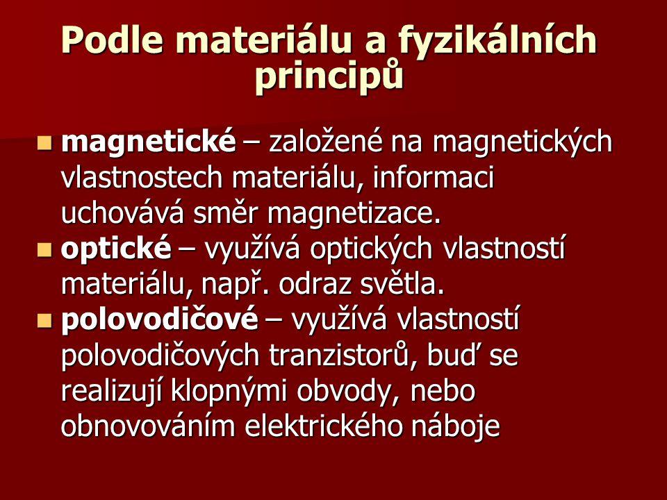 Podle materiálu a fyzikálních principů  magnetické – založené na magnetických vlastnostech materiálu, informaci uchovává směr magnetizace.