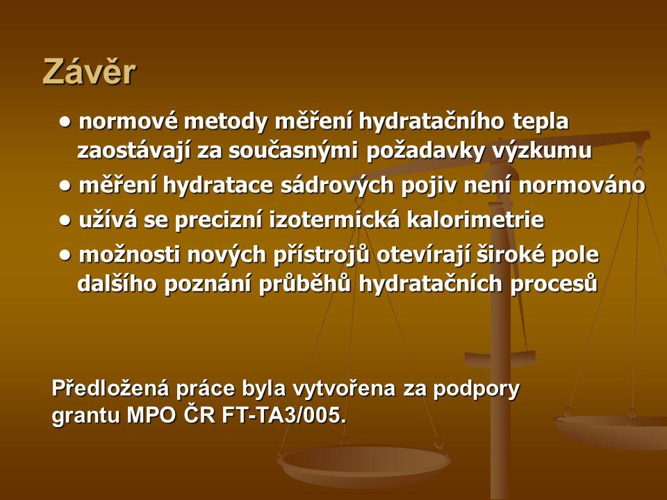 • normové metody měření hydratačního tepla zaostávají za současnými požadavky výzkumu • měření hydratace sádrových pojiv není normováno • užívá se precizní izotermická kalorimetrie • možnosti nových přístrojů otevírají široké pole dalšího poznání průběhů hydratačních procesů Závěr Předložená práce byla vytvořena za podpory grantu MPO ČR FT-TA3/005.