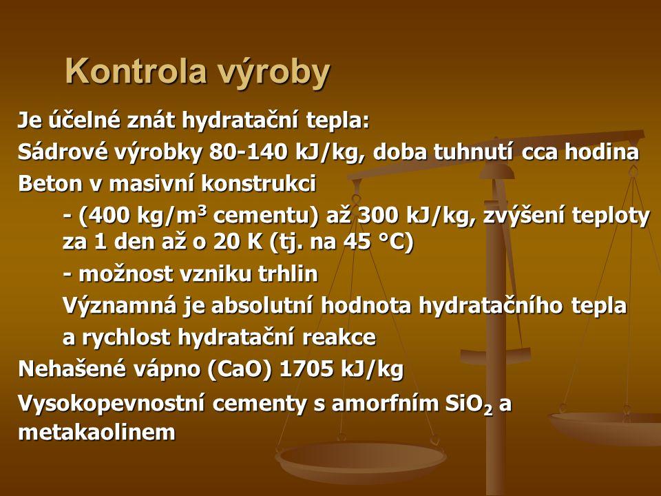 Kontrola výroby Je účelné znát hydratační tepla: Sádrové výrobky 80-140 kJ/kg, doba tuhnutí cca hodina Beton v masivní konstrukci - (400 kg/m 3 cementu) až 300 kJ/kg, zvýšení teploty za 1 den až o 20 K (tj.