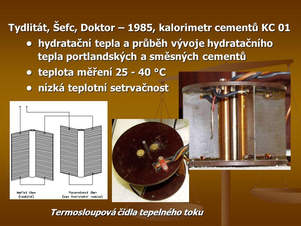 Tydlitát, Šefc, Doktor – 1985, kalorimetr cementů KC 01 • hydratační tepla a průběh vývoje hydratačního tepla portlandských a směsných cementů • hydratační tepla a průběh vývoje hydratačního tepla portlandských a směsných cementů • teplota měření 25 - 40 °C • teplota měření 25 - 40 °C • nízká teplotní setrvačnost • nízká teplotní setrvačnost Termosloupová čidla tepelného toku