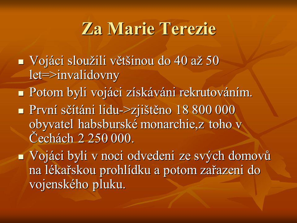 Za Marie Terezie  Vojáci sloužili většinou do 40 až 50 let=>invalidovny  Potom byli vojáci získáváni rekrutováním.  První sčítáni lidu->zjištěno 18