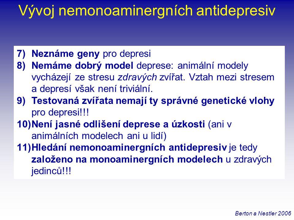 """Akutní stresory •Nové prostředí •Imobilizace •Ponoření •Šok do pacek bez úniku Pokusný spouštěč Etiologická validita Animální modely deprese Neurobehaviorální výsledek Konstrukční a predikční validita Časná manipulace •Separace od matky •Prenatální stres Léze •Olfaktorní bulbektomie Deplece monoaminů •Reserpin •Trp- Imunostimulace •Endotoxin •Zánětlivé cytokiny Indukce stimulancii •Amfetaminové stažení •MDMA (ecstasy) Explorační testy •Open field, světlo-tma •Zvýšené """"plus bludiště •Hyponeofagie Sociální interakce •Dominance-submise •Značkovací chování •Vokalizace (distres) •Sociální přiblížení-vyhýbání Navozené zoufalství •Plavací test •Zavěšení za ocas •Naučená bezmocnost Testy založené na odměně •Pití sacharózy •Intrakraniální sebestimulace •Novelty seeking •Operantní podmiňování •Sexuální chování Neuroendokrinní testy •DST Neurální ukazatele •Neurogeneze (dospělý hipokampus) •Objem hipokampu; [BDNF] −Nezabírá spolehlivě na antidepresiva −Zabírá na akutní/ subchronické podání −Chronické podávání Chronické stresory •CMS •Psychosociální stres (isolace aj.)"""