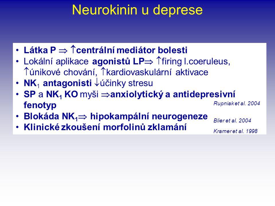 Neurokinin u deprese •Látka P   centrální mediátor bolesti •Lokální aplikace agonistů LP   firing l.coeruleus,  únikové chování,  kardiovaskulár