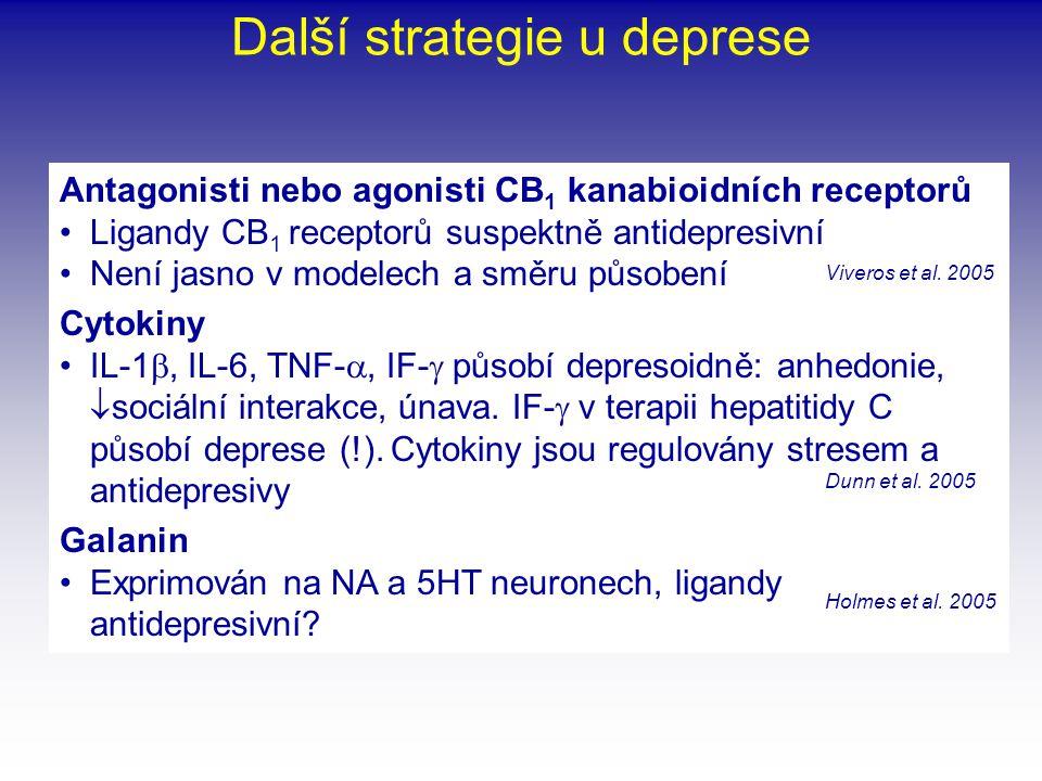 Další strategie u deprese Antagonisti nebo agonisti CB 1 kanabioidních receptorů •Ligandy CB 1 receptorů suspektně antidepresivní •Není jasno v modele