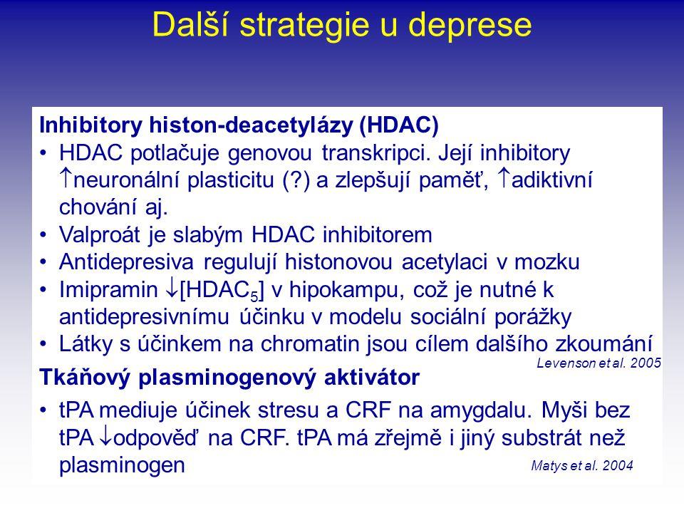 Další strategie u deprese Inhibitory histon-deacetylázy (HDAC) •HDAC potlačuje genovou transkripci. Její inhibitory  neuronální plasticitu (?) a zlep
