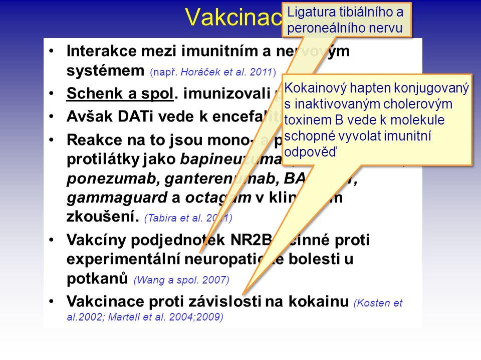 Vakcinace •Interakce mezi imunitním a nervovým systémem (např. Horáček et al. 2011) •Schenk a spol. imunizovali proti DAT (Nature 1999) •Avšak DATi ve
