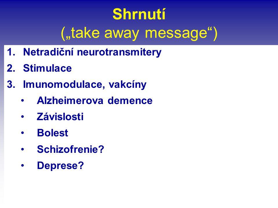 """Shrnutí (""""take away message"""") 1.Netradiční neurotransmitery 2.Stimulace 3.Imunomodulace, vakcíny •Alzheimerova demence •Závislosti •Bolest •Schizofren"""