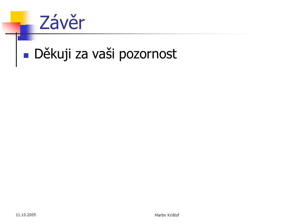 11.10.2005 Martin Krištof Závěr  Děkuji za vaši pozornost