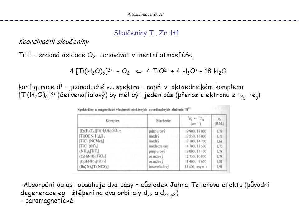 4. Skupina: Ti, Zr, Hf Sloučeniny Ti, Zr, Hf Koordinační sloučeniny Ti III – snadná oxidace O 2, uchovávat v inertní atmosféře, 4 [Ti(H 2 O) 6 ] 3+ +