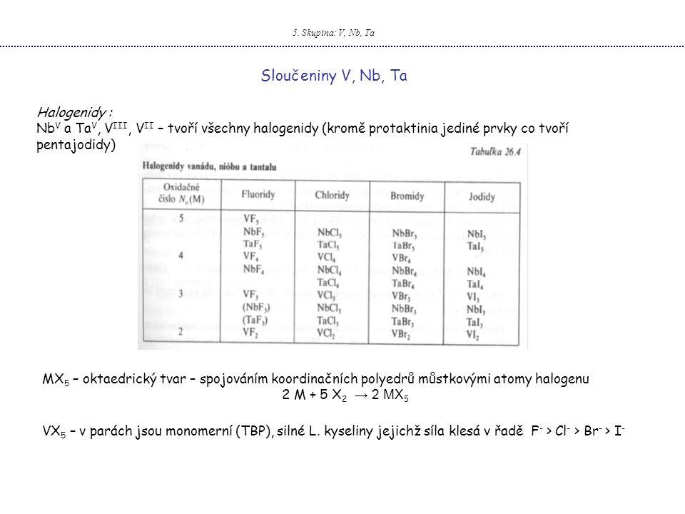 5. Skupina: V, Nb, Ta Sloučeniny V, Nb, Ta Halogenidy : Nb V a Ta V, V III, V II – tvoří všechny halogenidy (kromě protaktinia jediné prvky co tvoří p