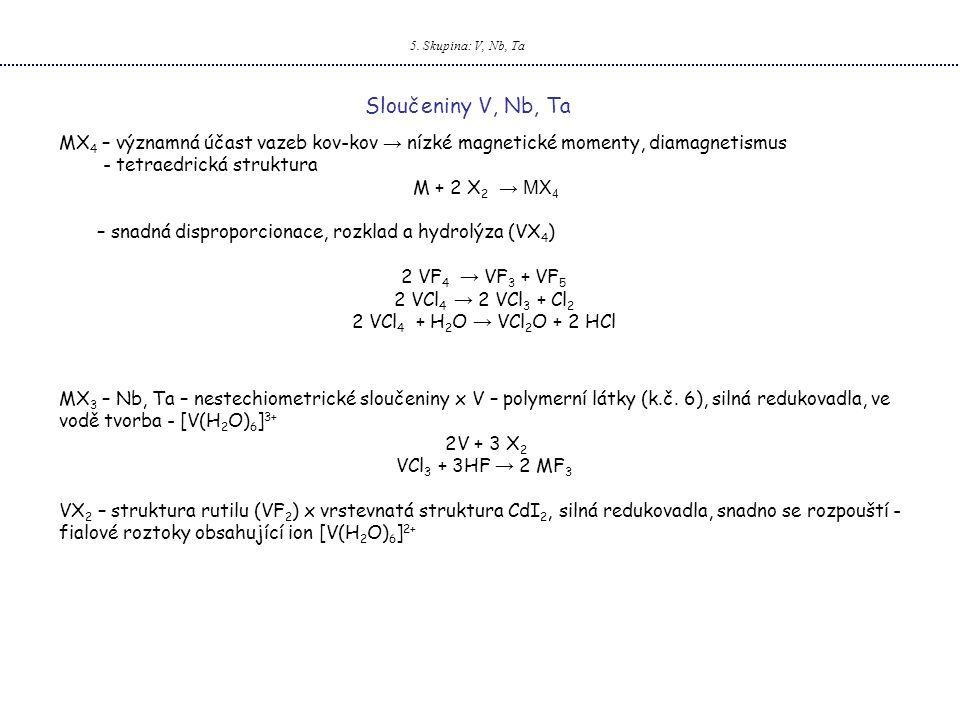 5. Skupina: V, Nb, Ta Sloučeniny V, Nb, Ta MX 4 – významná účast vazeb kov-kov → nízké magnetické momenty, diamagnetismus - tetraedrická struktura M +