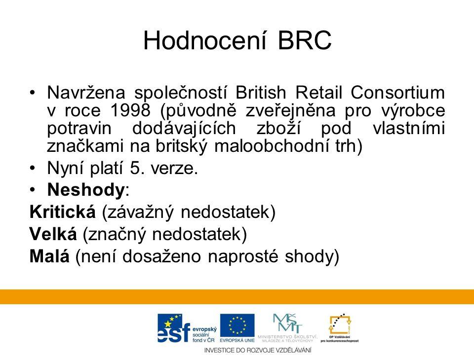 Hodnocení BRC •Navržena společností British Retail Consortium v roce 1998 (původně zveřejněna pro výrobce potravin dodávajících zboží pod vlastními značkami na britský maloobchodní trh) •Nyní platí 5.