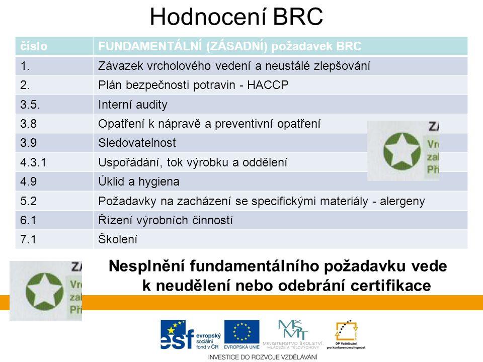 Hodnocení BRC čísloFUNDAMENTÁLNÍ (ZÁSADNÍ) požadavek BRC 1.Závazek vrcholového vedení a neustálé zlepšování 2.Plán bezpečnosti potravin - HACCP 3.5.Interní audity 3.8Opatření k nápravě a preventivní opatření 3.9Sledovatelnost 4.3.1Uspořádání, tok výrobku a oddělení 4.9Úklid a hygiena 5.2Požadavky na zacházení se specifickými materiály - alergeny 6.1Řízení výrobních činností 7.1Školení Nesplnění fundamentálního požadavku vede k neudělení nebo odebrání certifikace