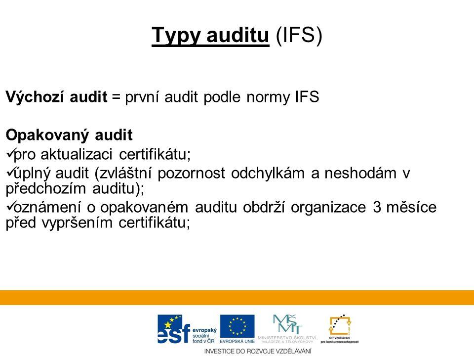 Typy auditu (IFS) Výchozí audit = první audit podle normy IFS Opakovaný audit  pro aktualizaci certifikátu;  úplný audit (zvláštní pozornost odchylkám a neshodám v předchozím auditu);  oznámení o opakovaném auditu obdrží organizace 3 měsíce před vypršením certifikátu;