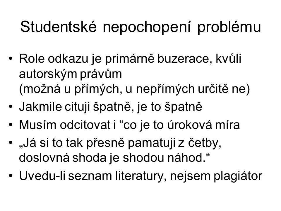 Studentské nepochopení problému •Role odkazu je primárně buzerace, kvůli autorským právům (možná u přímých, u nepřímých určitě ne) •Jakmile cituji špa
