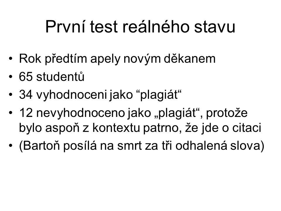 """První test reálného stavu •Rok předtím apely novým děkanem •65 studentů •34 vyhodnoceni jako """"plagiát"""" •12 nevyhodnoceno jako """"plagiát"""", protože bylo"""